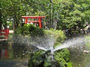 鳥居と噴水