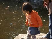 池を見る子