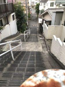 盆踊広場へ階段坂下
